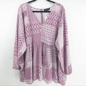Ellos Purple Tessa Tunic Long Sleeve Bishop Blouse